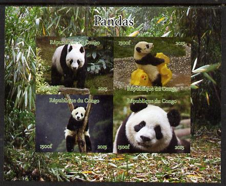 Congo 2015 Pandas imperf sheetlet containing 4 values unmounted mint. Note this item is privately produced and is offered purely on its thematic appeal