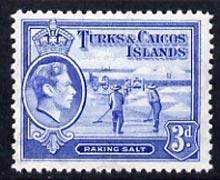 Turks & Caicos Islands 1938 KG6 Raking Salt 3d bright blue unmounted mint, SG 200*