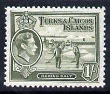 Turks & Caicos Islands 1938 KG6 Raking Salt 1s grey-olive unmounted mint, SG 202a*