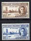 Pitcairn Islands 1946 KG6 Victory Commemoration set of 2 unmounted mint, SG 9-10*