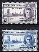 Falkland Islands 1946 KG6 Victory Commemoration set of 2 unmounted mint, SG 164-65*