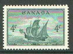 Canada 1949 Entry of Newfoundland into Confederation 4c (Cabots Ship Matthew) unmounted mint SG 412*