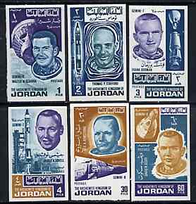 Jordan 1966 Space Achievements imperf set of 6 unmounted mint, as SG 764-69*