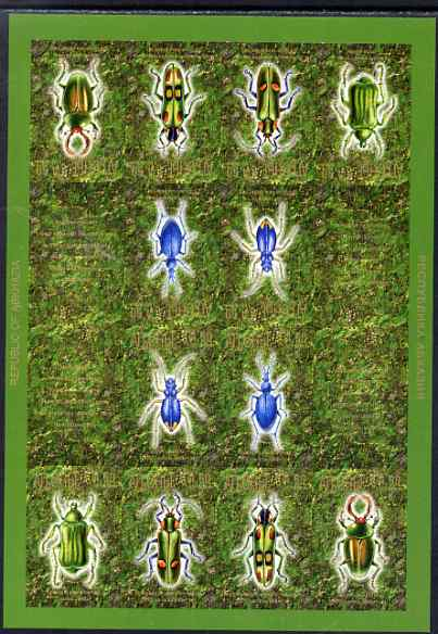 Abkhazia 1999 Beetles #1 imperf sheetlet of 16 containing 6 stamps & 2 labels arranged in Tete-beche format, unmounted mint