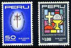 Peru 1960 National Eucharistic Congress set of 2, SG 843-44 unmounted mint*