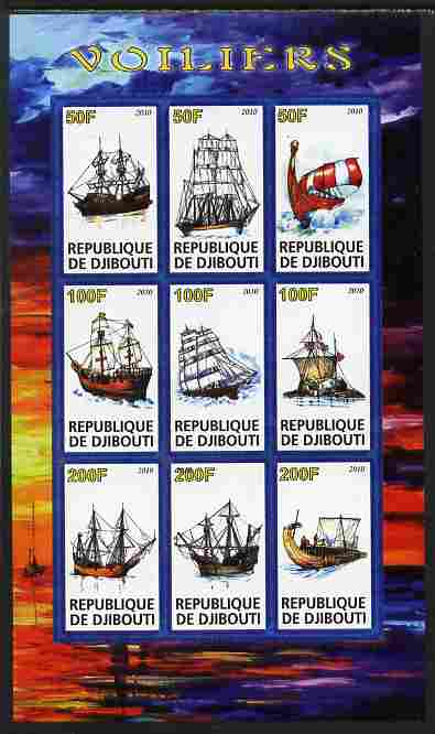 Djibouti 2010 Sailing Ships imperf sheetlet containing 9 values unmounted mint