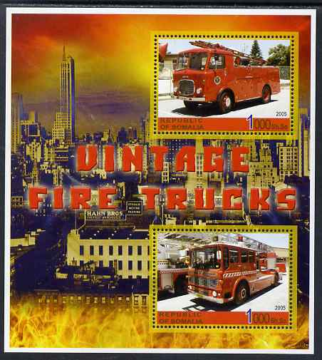 Somalia 2005 Vintage Fire Trucks #02 perf sheetlet containing 2 values unmounted mint. Note this item is privately produced and is offered purely on its thematic appeal