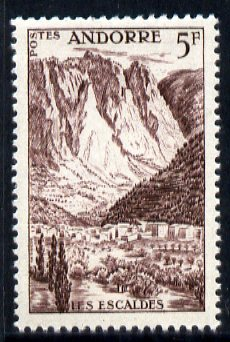 Andorra - French 1955-58 Les Escaldes 5f chocolate unmounted mint SG F147