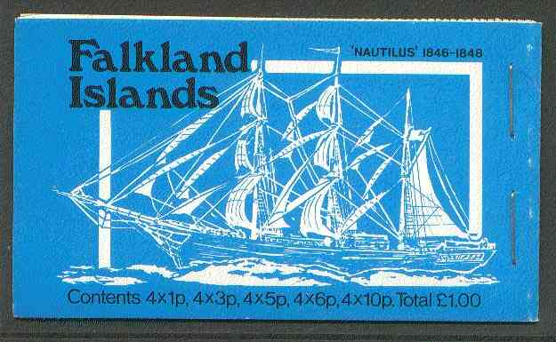 Booklet - Falkland Islands 1979 Mailships \A31 booklet (blue cover showing Nautilus & AES) complete, SG SB3
