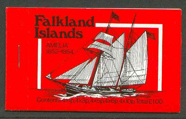 Booklet - Falkland Islands 1980 Mailships \A31 booklet (red cover showing Amelia & Merak-N) complete, SG SB4