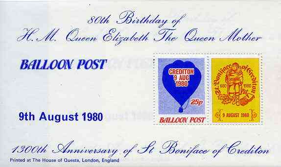Cinderella - Great Britain 1980 Balloon Post 25p perf m/sheet commemorating the 80th Birthday of the Queen Mother unmounted mint