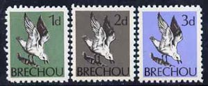 Brecqhou (British Local) 1969 Seagull 1d, 2d & 3d from definitive set (blocks pro rata)