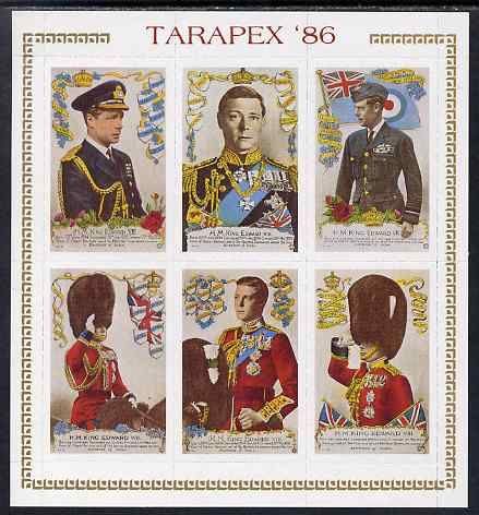 Cinderella - New Zealand 1986 Tarapex sheetlet containing 6 labels depicting King Edward VIII, rouletted unmounted mint