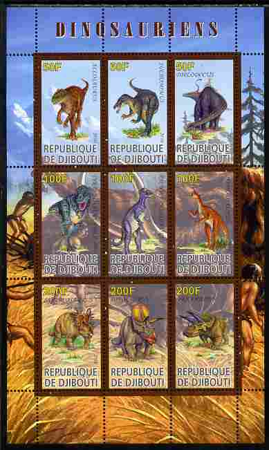 Djibouti 2010 Dinosaurs perf sheetlet containing 9 values unmounted mint