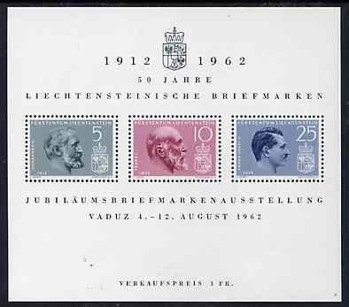 Liechtenstein 1962 Anniversary of First Postage Stamps m/sheet, SG MS 412a, Mi BL 6