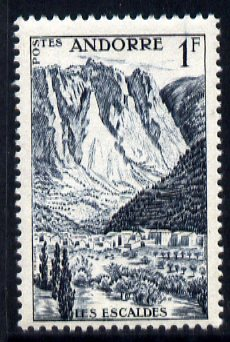 Andorra - French 1955-58 Les Escaldes 1f slate-blue unmounted mint SG F144