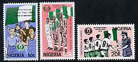 Nigeria 1985 International Youth Year set of 3 unmounted mint, SG 492-94*