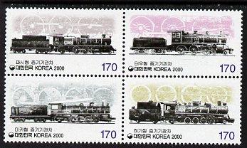 South Korea 2000 Railways 1st Series se-tenant block of 4 unmounted mint, SG 2379a