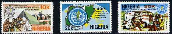 Nigeria 1988 World Health Organisation 40th Anniversary set of 3, SG 555-57 unmounted mint*