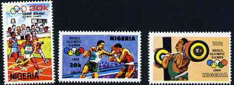 Nigeria 1988 Seoul Olympic Games set of 3, SG 565-67 unmounted mint*