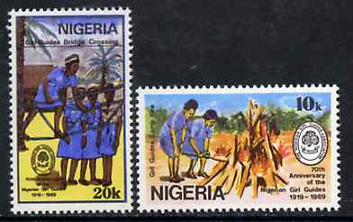 Nigeria 1989 70th Anniversary of Nigerian Girl Guides set of 2 unmounted mint, SG 580-81*