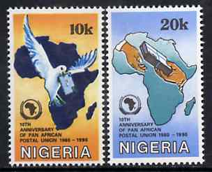 Nigeria 1990 Pan African Postal Union set of 2 (Dove & Map) unmounted mint SG 586-87*