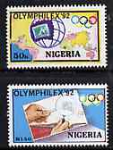 Nigeria 1992 'Olymphilex 92' Olympic Stamp Exhibition set of 2, SG 630-31 unmounted mint*