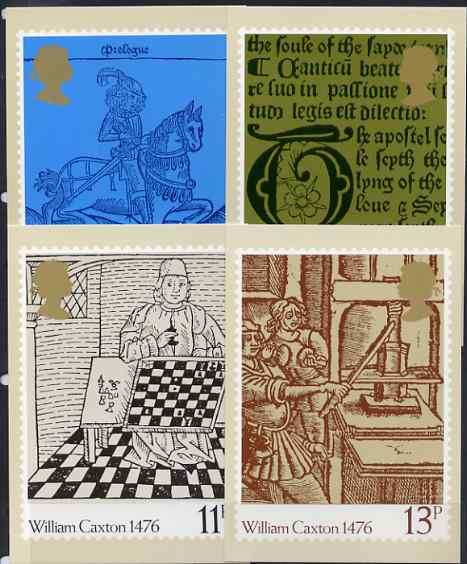 Great Britain 1976 500th Anniversary of British Printing set of 4 PHQ cards unused and pristine