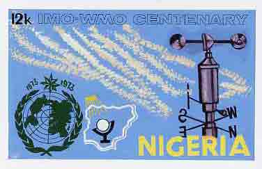 Nigeria 1973 IMO & WMO Centenary - original hand-painted artwork for 12k value (Weather Vane) by unknown artist on card size 10x6 without endorsement, stamps on weather