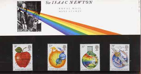 Great Britain 1987 Newton's Principles of Mathematics set of 4 in official presentation pack, SG 1351-54