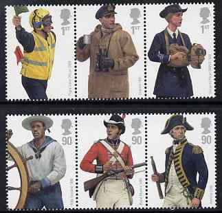 Great Britain 2009 British Navy Uniforms perf set of 6 values (2 se-tenant strips of 3) unmounted mint