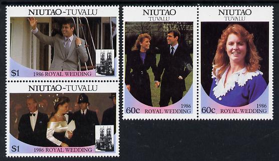 Tuvalu - Niutao 1986 Royal Wedding (Andrew & Fergie) set of 4 (2 se-tenant pairs) unmounted mint
