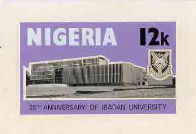 Nigeria 1973 Ibadan University - partly hand-painted artwork for 12k value (University Building) by unknown artist on card size 8.5x5 without endorsements