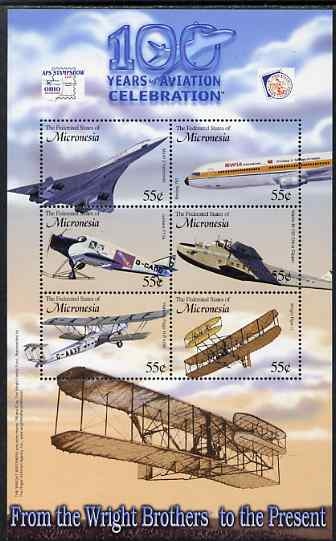 Micronesia 2003 Centenary of Powered Flight perf sheetlet containing 6 values (with APS Stamp Show imprint) unmounted mint, SG MS 1226a