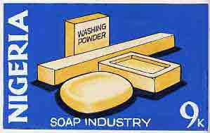Nigeria - Original artwork essay probably intended for the 1973-74 definitive issue symbolically showing the Soap industry (9k value) in bright colours 8 x 5 on card