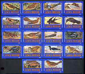 Match Box Labels - complete set of 18 British Birds, superb unused condition (Lewis Meeson)