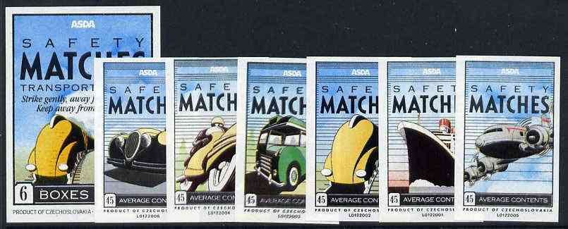 Match Box Labels - complete set of 6 + 1 Transport, superb unused condition (Asda includes packet label)