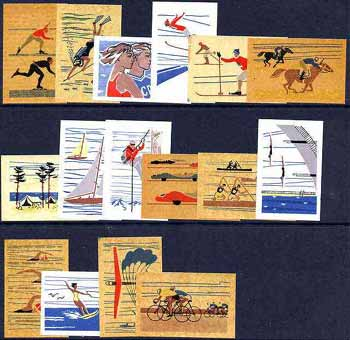 Match Box Labels - complete set of 16 Sports & Pastimes, superb unused condition (Russian)