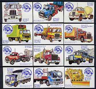 Match Box Labels - complete set of 12 Trucks, superb unused condition (Blueboy)