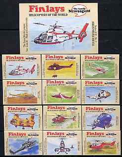 Match Box Labels - complete set of 12 + 1 Helicopters of the World, superb unused condition (Finlays includes packet label)