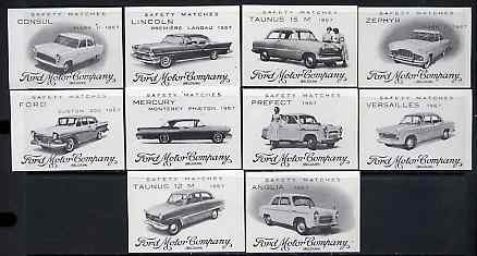 Match Box Labels - complete set of 10 Ford Cars, superb unused condition (Belgian)
