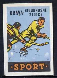 Match Box Label - Ice Hockey superb unused condition from Yugoslavian Sports & Pastimes Drava series