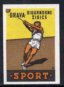 Match Box Label - Hammer Throwing superb unused condition from Yugoslavian Sports & Pastimes Drava series