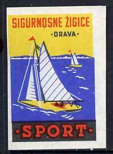Match Box Label - Sailing superb unused condition from Yugoslavian Sports & Pastimes Drava series