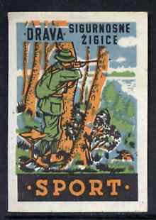 Match Box Label - Hunting superb unused condition from Yugoslavian Sports & Pastimes Drava series