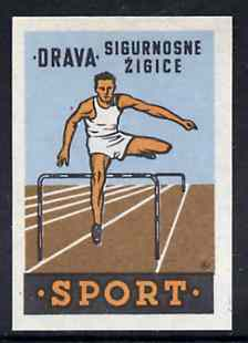 Match Box Label - Hurdling superb unused condition from Yugoslavian Sports & Pastimes Drava series