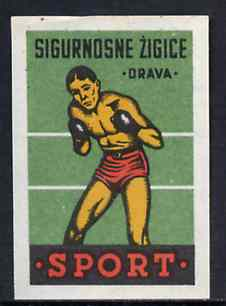 Match Box Label - Boxing superb unused condition from Yugoslavian Sports & Pastimes Drava series