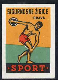 Match Box Label - Discus Throwing superb unused condition from Yugoslavian Sports & Pastimes Drava series