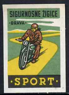 Match Box Label - Motor Cycling superb unused condition from Yugoslavian Sports & Pastimes Drava series