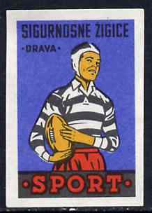 Match Box Label - Rugby superb unused condition from Yugoslavian Sports & Pastimes Drava series